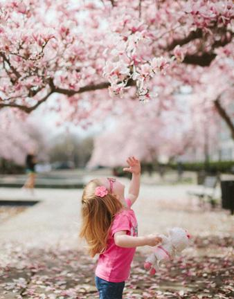 Girl and pink tree